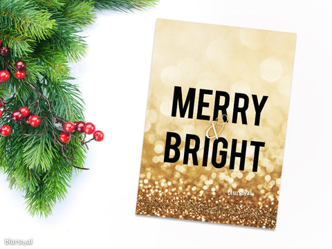 Merry & Bright Christmas card in gold glitter