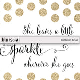 Custom quote in this style: gold glitter polka dots