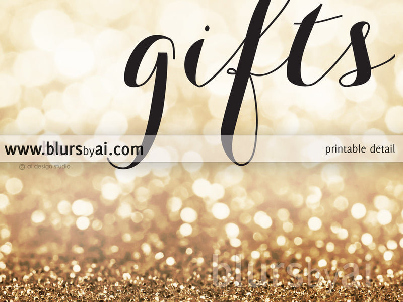 Cards and gifts printable sign in gold glitter