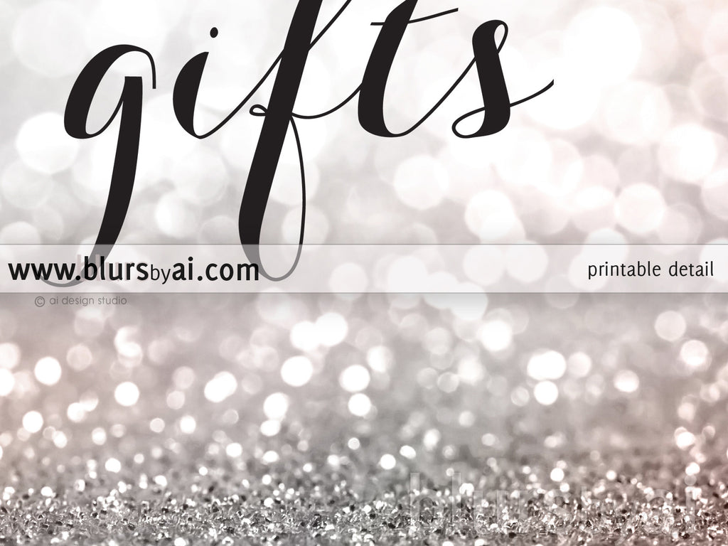 Cards and gifts, printable sign in blush and silver glitter