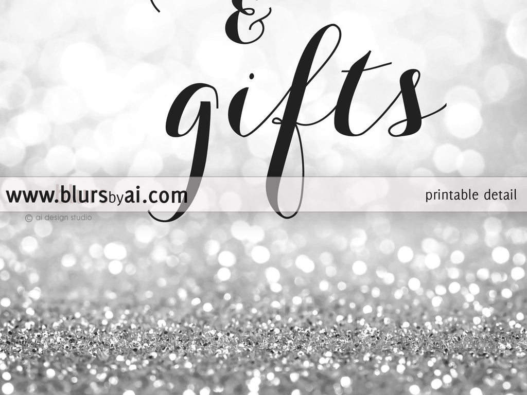 Printable cards and gifts sign in silver glitter