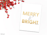 Merry & Bright Christmas card in gold text