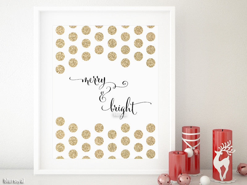 Merry & Bright Christmas decor in black calligraphy and gold polka dots