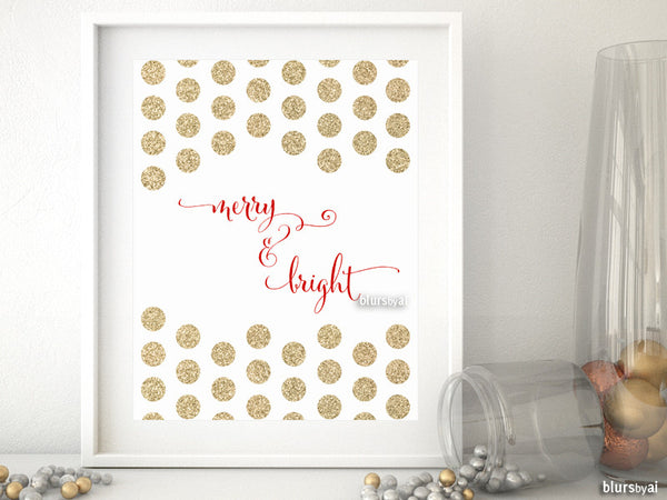 Merry & Bright Christmas decor in red & gold glitter polka dots