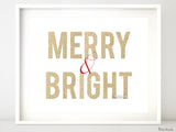 Merry & Bright Christmas decor in red and gold glitter