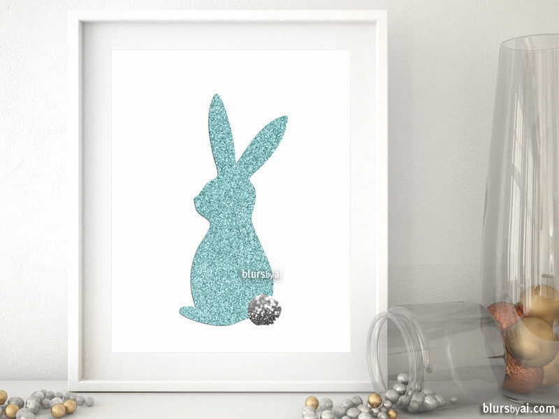 Easter bunny printable decor in robin egg blue, pastel blue glitter - Personal use