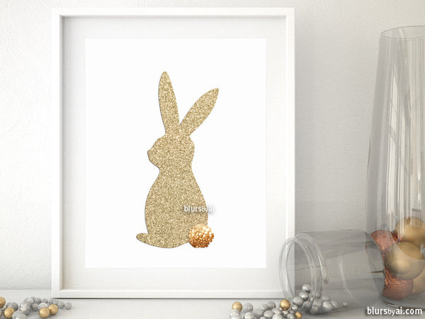 Easter bunny silhouette in gold glitter, printable spring decor