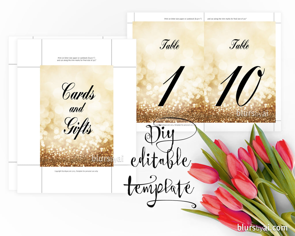 "5x7"" - DIY Printable sign templates for Word. Make your own wedding signs & table numbers, in gold glitter background"