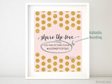 Custom printable wedding hashtag sign, Share the love, in blush pink and gold