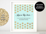 Custom printable wedding hashtag sign, Share the love, in mint and gold
