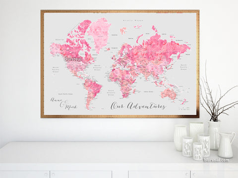 "Custom quote - light gray and shades of pink watercolor printable world map with cities. ""Lavinia"""