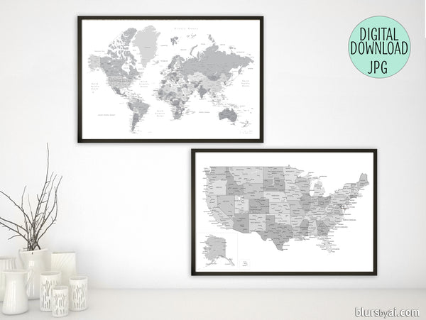Printable matching world map and US map with cities in grayscale, 36x24\