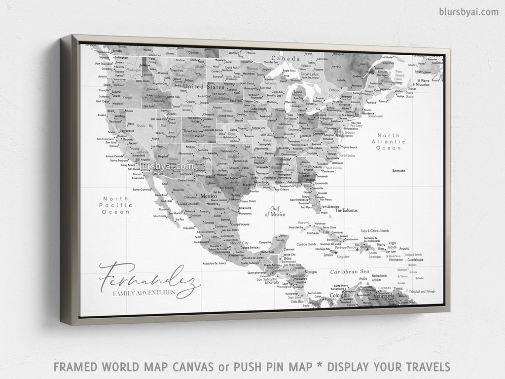 "Custom map of USA, Mexico and the Caribbean area, canvas print or push pin map in light grayscale watercolor. ""Jimmy"""