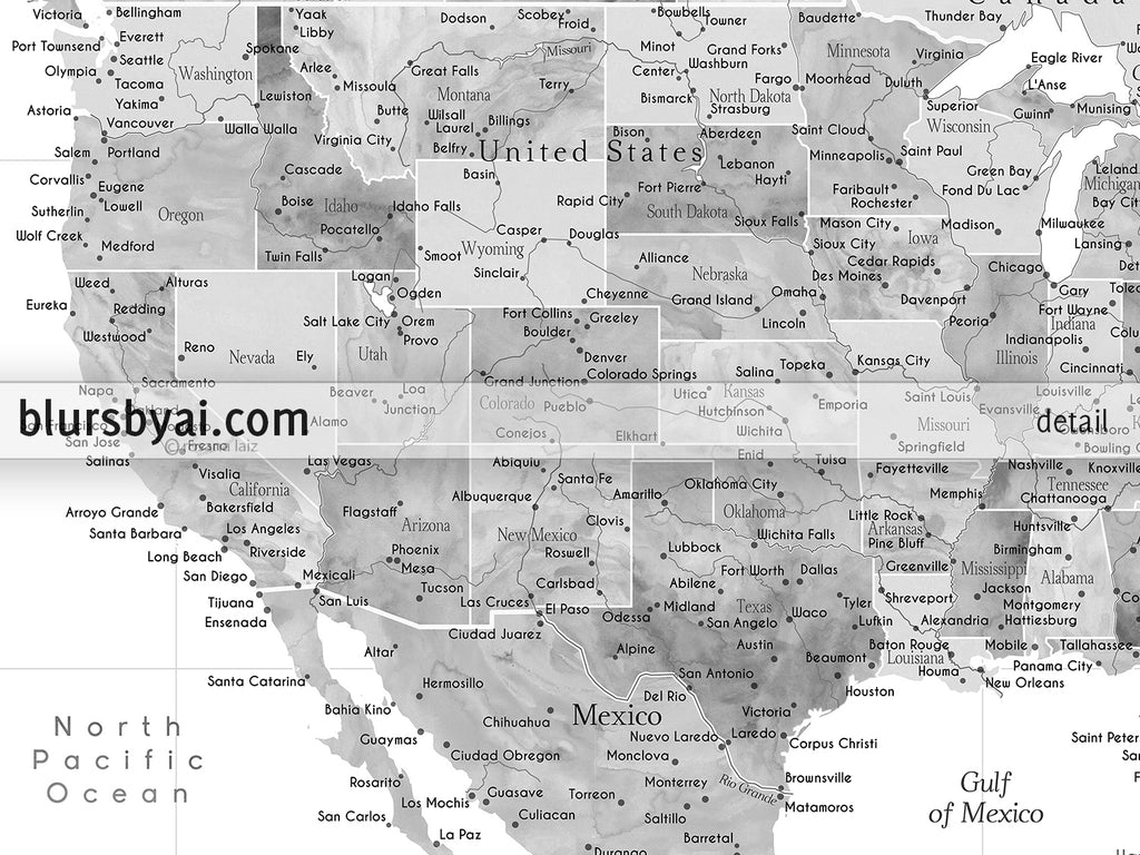 "Custom map print: USA, Mexico and the Caribbean Sea in grayscale watercolor . ""Jimmy"""