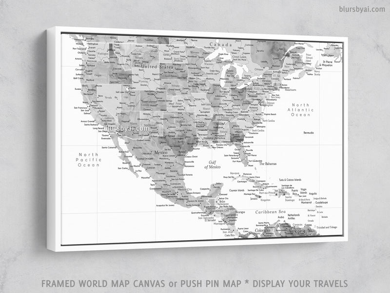 "Custom map of USA, Mexico and the Caribbean area, canvas print or push pin map in grayscale watercolor. ""Jimmy"""