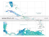 Printable map of the Caribbean Islands, with capitals and cities in aquamarine, 20x16""