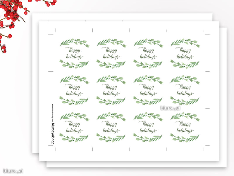 Printable merry Christmas and happy holidays gift tags with watercolor greenery