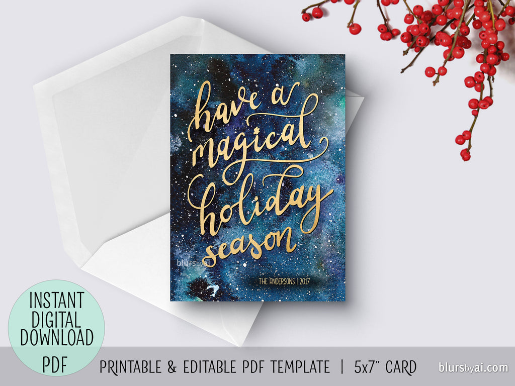 Editable pdf Christmas card template: Have a magical holiday season