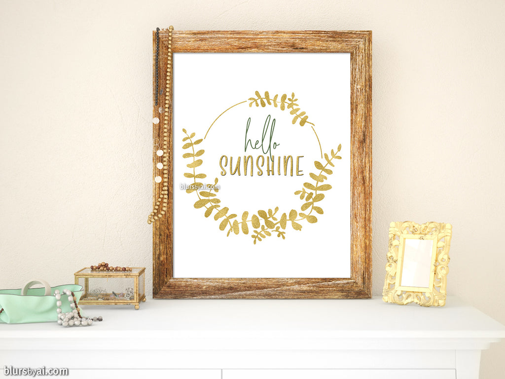 Hello sunshine printable art with eucalyptus wreath - Personal use