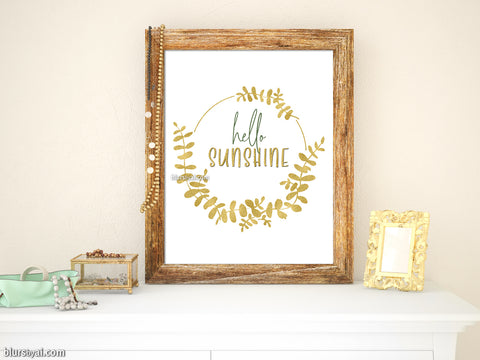 Hello sunshine printable art with eucalyptus wreath