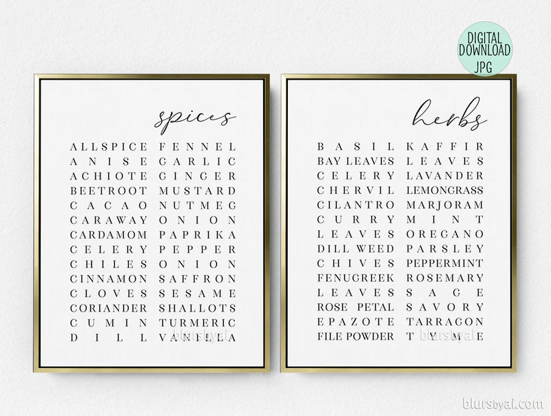 Printable scandinavian style list of spices and herbs, set of two - Personal use