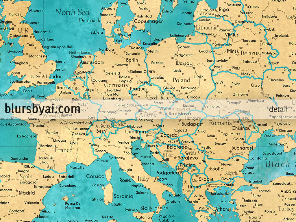 Detailed Map Of The World.Custom World Map Print Highly Detailed Map With Cities In Teal And Gold Lexy