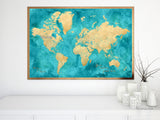 "Personalized world map print - highly detailed map with cities in teal and gold. ""Lexy"""