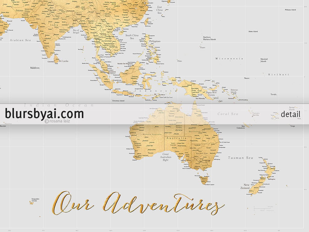 Personalized large highly detailed world map canvas print or push personalized large highly detailed world map canvas print or push pin map in gold and gumiabroncs Images