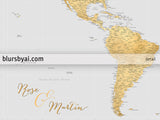 "Personalized world map print - highly detailed map with cities in gray and gold. ""Everly"""