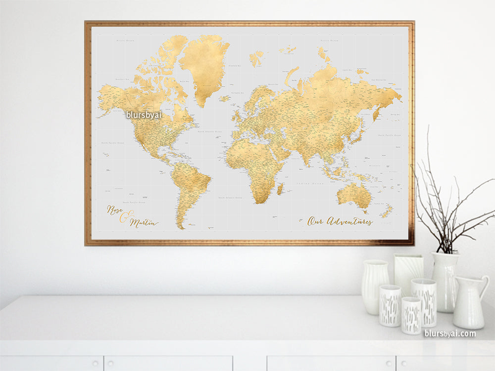 "Custom world map print - highly detailed map with cities in gray and gold. ""Everly"""
