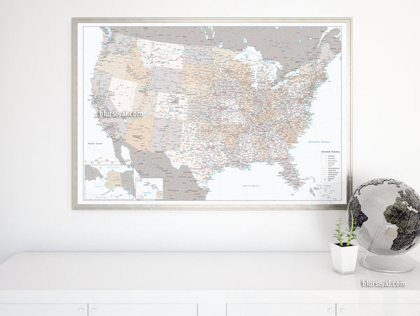 "Custom US map print: highly detailed map of the US with roads. ""Lincoln"""