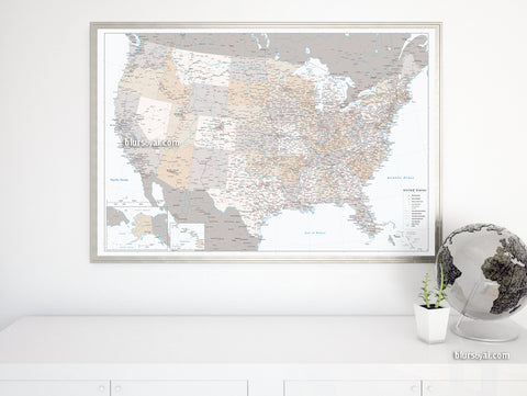 "Personalized US map print: highly detailed map of the US with roads. ""Lincoln"""