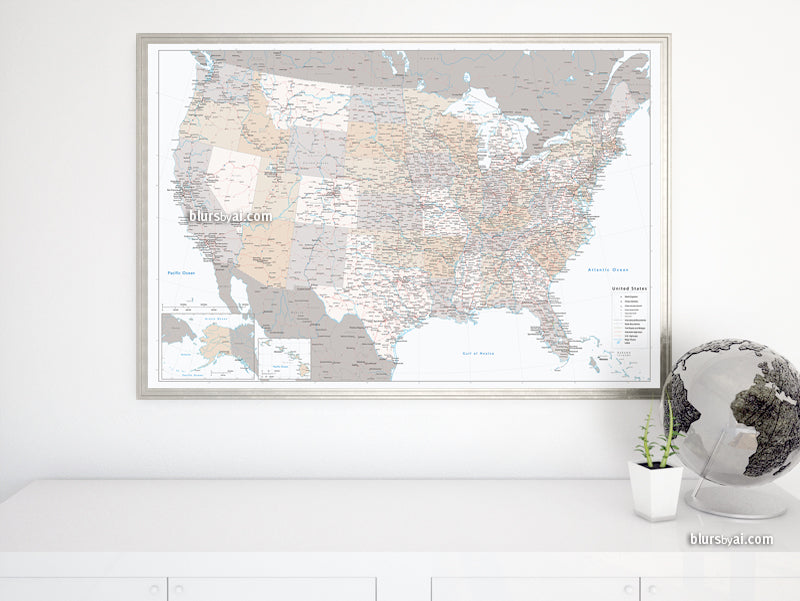 "Large and detailed USA map print, ""Lincoln"""