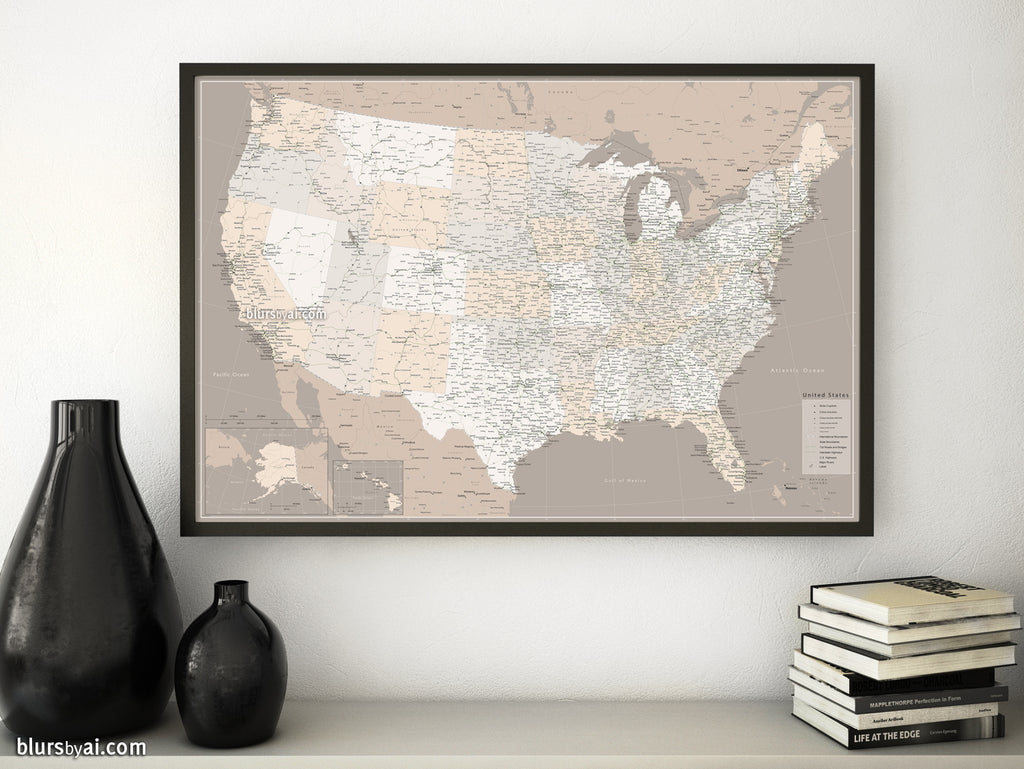 "Custom US map print: highly detailed map of the US with roads. ""Light earth tones"""