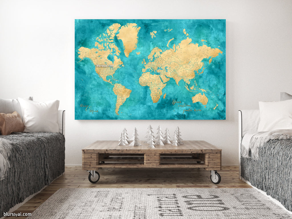 "Custom large & highly detailed world map canvas print or push pin map in gold and teal. ""Lexy"""