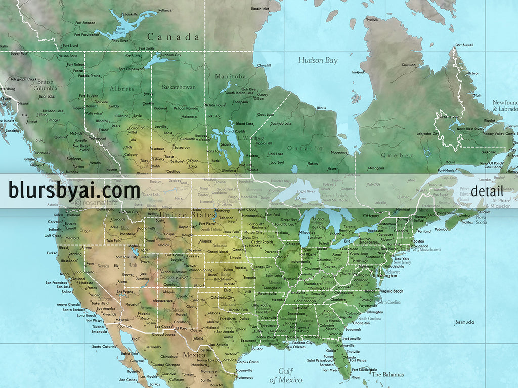 "Custom world map print - highly detailed map with cities in watercolor topography. ""Jay"""