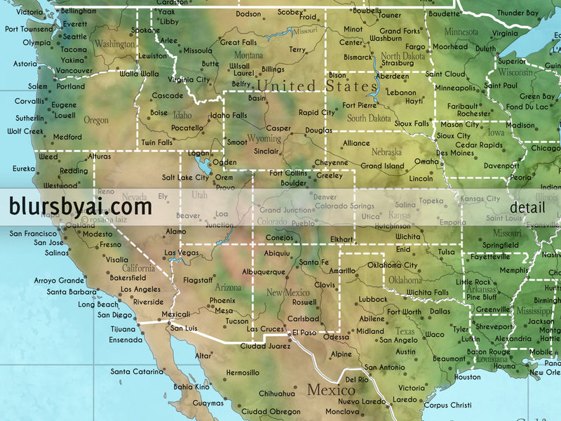 "Custom large & highly detailed world map canvas print or push pin map in watercolor topographic colors. ""Jay"""