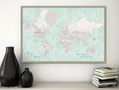 "Personalized world map print - highly detailed map with cities in mint and neutrals with marine creatures. ""Lenore"""