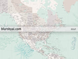 "Custom world map print - highly detailed map with cities in mint and neutrals with marine creatures. ""Lenore"""