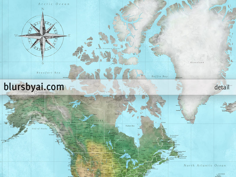 "Customized PRINTABLE highly detailed world map with cities. ""Jay"""