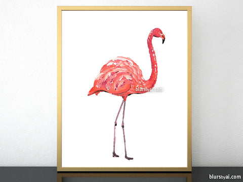 Orange flamingo printable home decor