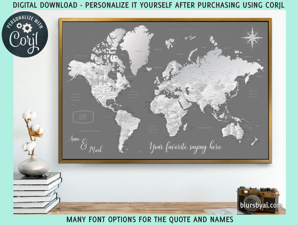 "Personalized PRINTABLE world map with cities, ""Silver leaf"", edit-it-yourself using CORJL - Instant download for PERSONAL USE"