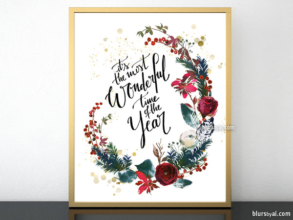 Printable Christmas decorations: It's the most wonderful time of the year with red florals