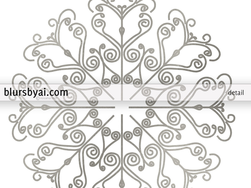 Lace snowflake printables in gold effect and silver effect