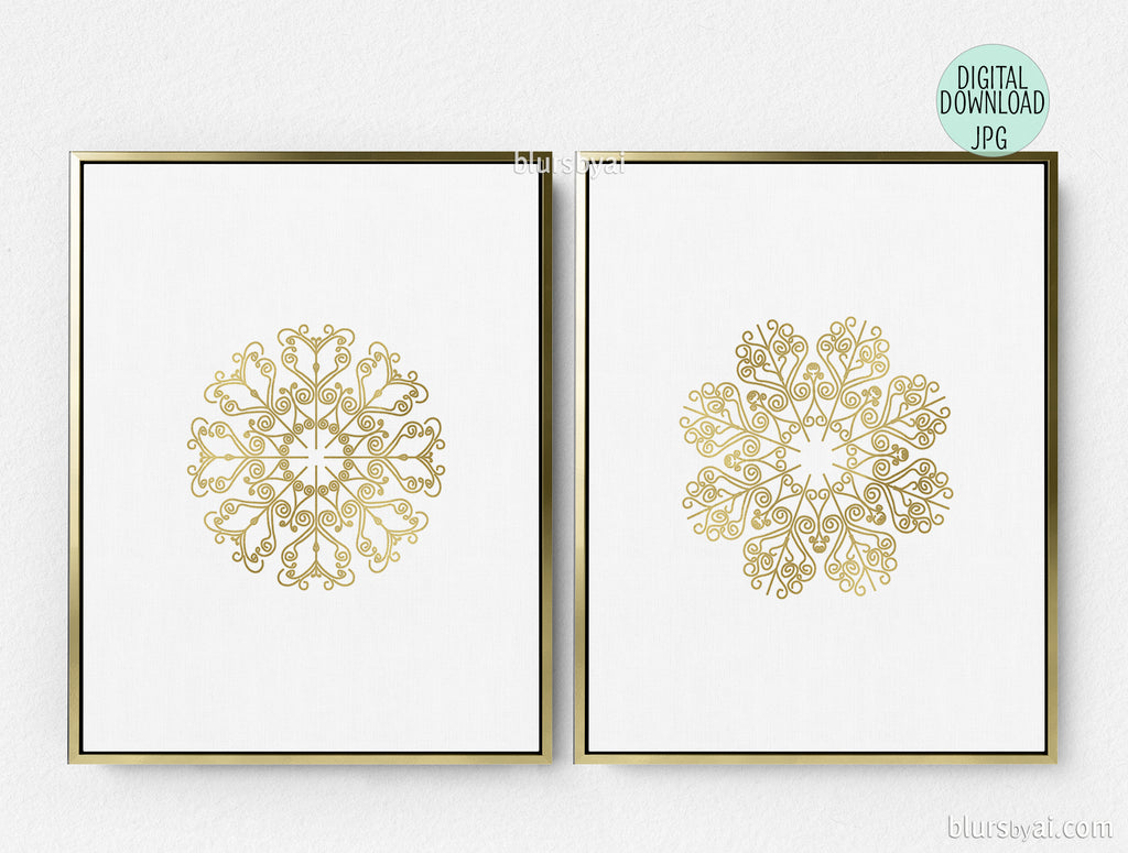 photo relating to Snowflake Cutouts Printable called Lace snowflake printables in just gold affect and silver impact