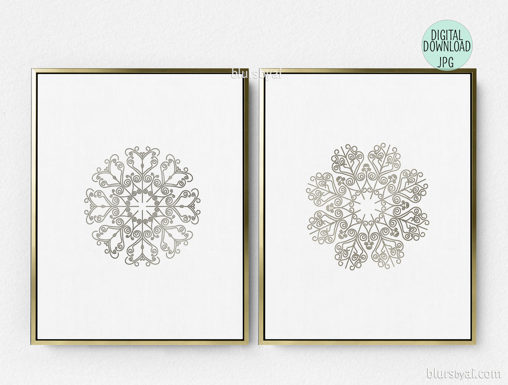 Lace snowflake printables in gold effect and silver effect - Personal use