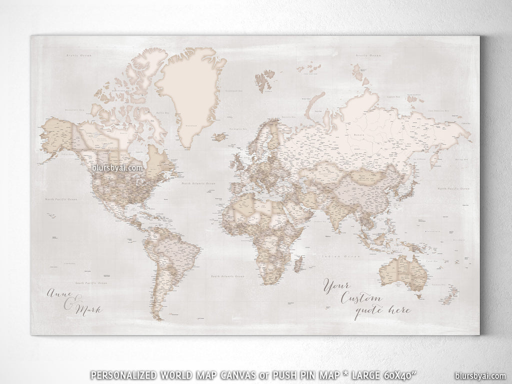 Custom large & highly detailed, rustic world map canvas print or ...