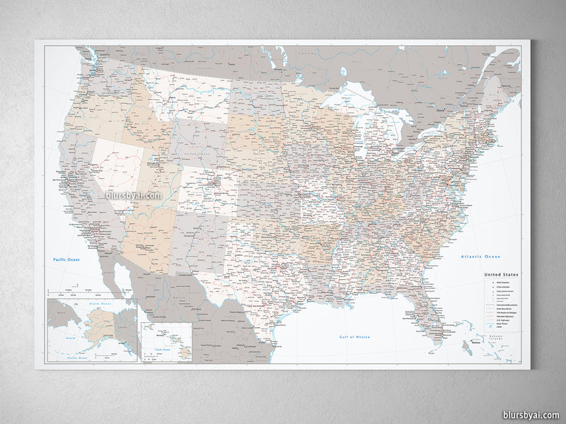 "Large and detailed USA canvas print or push pin map, ""Lincoln"""