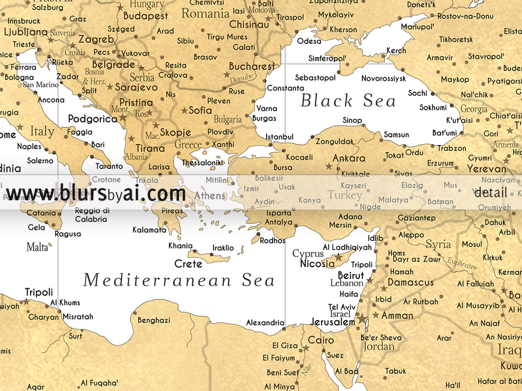 Custom quote Highly detailed world map print gold world map