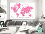 Custom quote - printable world map with cities, capitals, countries, US States... labeled and pink watercolor effect. Color combo: Natalie